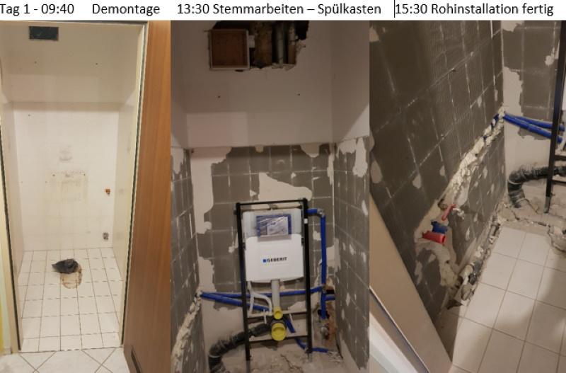 WC Renovierung, Rohinstallation fertig