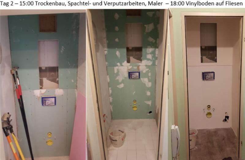 WC Renovierung, Trockenbau, Maler und Bodenleger fertig