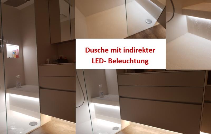 Dimmbare, indirekte Led-Beleuchtung bringt eine fantastische Stimmung in jedem Duschbereich.