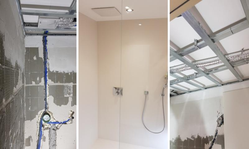 abgehängte Decke in der Dusche - ideal für Leitungsführung ohne viel Stemmarbeiten
