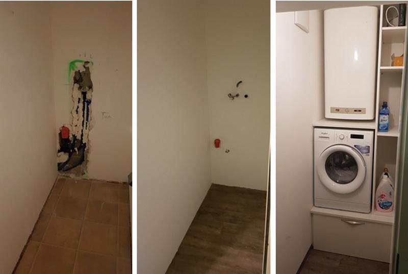 Im Zuge der Teilrenovierung wurde der Boiler und der Waschmaschinenanschluss aus dem Badezimmer in den Abstellraum verlegt.